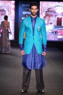 Aqua blue raw silk jacket with indigo pure silk shirt kurta & black trousers