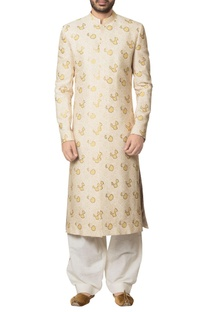 Beige khadi cotton hand block print sherwani with white khadi cotton salwar