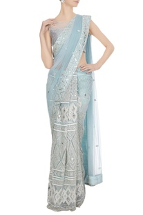 Powder blue mirror & resham embroidered saree with blouse