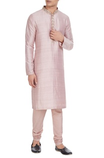 Pink raw silk kurta with embroidered collar & spun silk churidar
