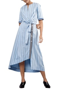 Nautical blue & white jail-stripe tie-up shirt dress