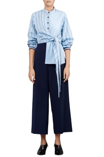 Coastline blue banana crepe trousers