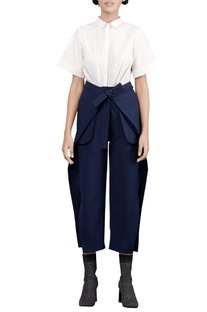 Chalk white & coastline blue jumpsuit with tie-up slits