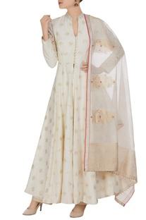 Hand-woven cotton silk anarkali set