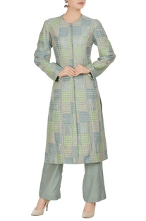 Geometric banarasi hand-woven kurta with straight pants