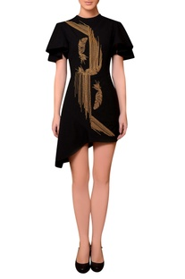 Black satin bead hand embroidered dress