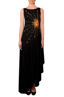 Black viscose georgette bead & thread hand embroidered dress
