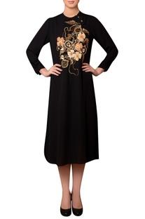 Black viscose georgette bead & thread hand embroidered dress