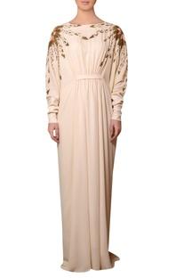 Peach viscose georgette bead & thread hand embroidered dress