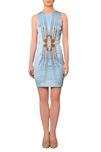 Light blue satin bead & thread hand embroidered dress