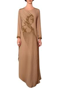 Beige viscose georgette bead hand embroidered dress
