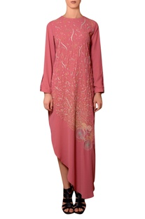 Dark peach viscose georgette thread hand embroidered dress