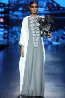 White & grey scuba & poly wool bow detailed maxi dress