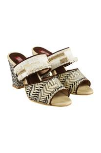 Beige georgia aztec printed block heels