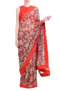 Carrot orange chiffon bibi jaal saree with blouse