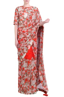 Carrot orange georgette bibi jaal & bouquet printed half-and-half saree with embroidered blouse