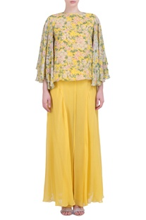 Yellow georgette bibi jaal printed flared top with sharara