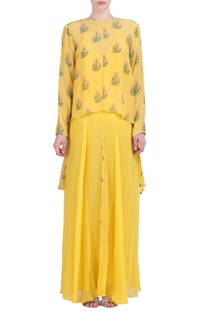 Yellow crepe hibiscus printed assyemtric embroidered top with sharara