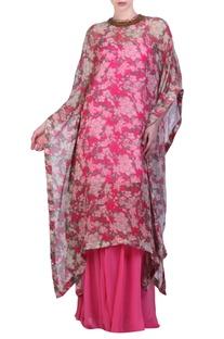 Hot pink chiffon bibi jaal printed kaftan with sharara