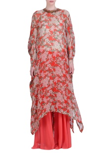 Carrot orange chiffon bibi jaal printed kaftan with sharara