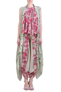 Grey crepe cape with hot pink printed & embroidered halter neck top & cowl dhoti