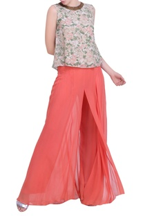 Grey crepe bibi jaal printed back open top with carrot orange sharara