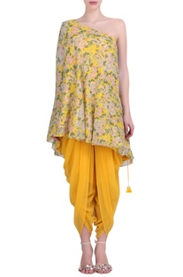 Yellow georgette bibi jaal printed off-shoulder top with yellow cowl dhoti