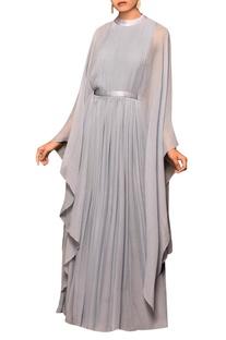 Bluish grey chiffon solid cape gown