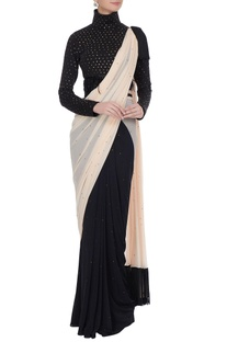 Black & cream embellished concept saree with high neck blouse