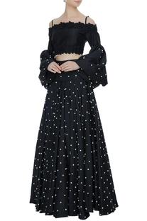Black off-shoulder blouse with flared lehenga