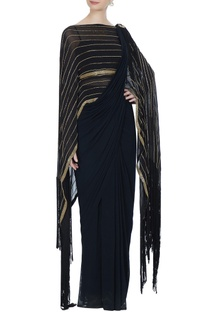 Black concept saree with attached pallu-drape & blouse