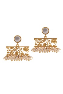 Gold brass  plated earrings with mother of pearl and pearl beads