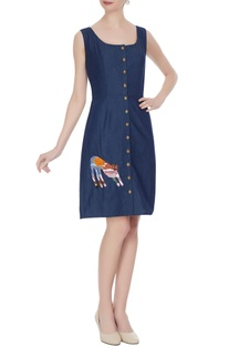 Blue button down koya tiger motif denim sun dress