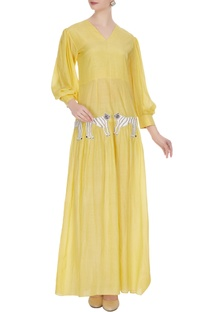 Yellow tiger motif maxi dress with trumpet sleeves