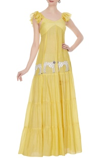 Yellow tiered style embroidered tiger maxi dress