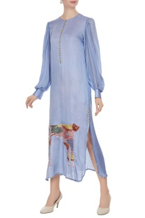 Blue tiger motif double slit tunic dress