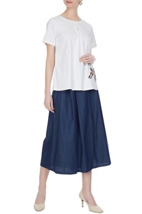 Blue skirt layer pants
