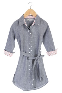 Blue organic cotton jacket style dress with hand sewn pearls