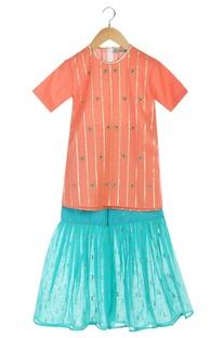 Coral short sleeve handmade kurta with sharara pants