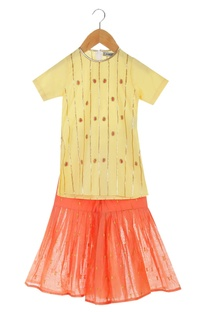Yellow organic cotton kurta with sharara pants