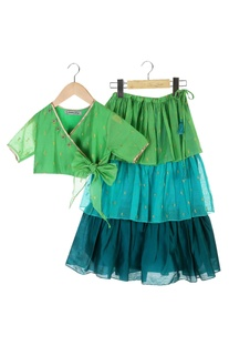 Blue & green tiered maxi skirt with wrap blouse