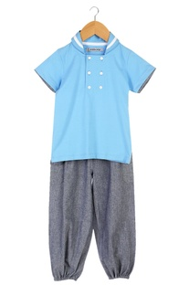 Blue sailor collar t-shirt with jogger pants