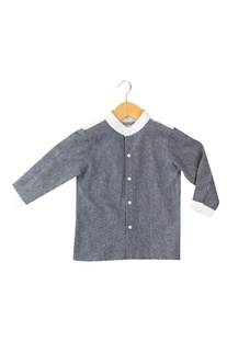 Blue denim shirt with button placket