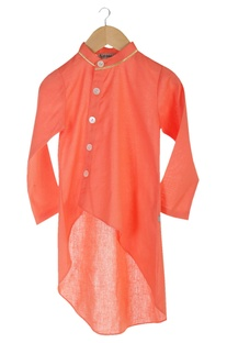 Peach organic cotton wrap kurta with churidar