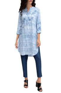 Blue viscose printed tunic