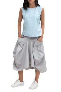 Grey linen draped skirt