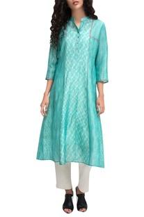 Turquoise block printed a-line kurta