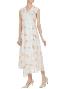 Multiprinted sleeveless overlap dress