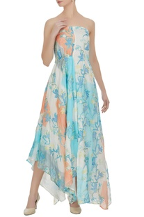 Block printed & floral hand embroidered asymmetric dress