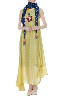 Yellow modal silk asymmetric dress with hand dyed scarf